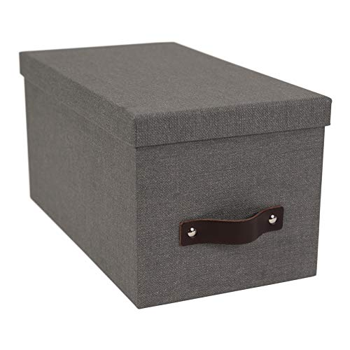 Bigso Silvia Canvas Fiberboard Organizational Storage Box, 5.9 x 6.5 x 11.6 in, Grey