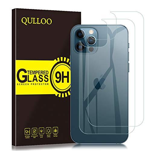 QULLOO Rückseite Panzerglas für iPhone 12 Pro,[2 Stück] Hinten Schutzfolie 9H Vollabdeckung Zurück Film Klar Rückseite Folie für iPhone 12 Pro