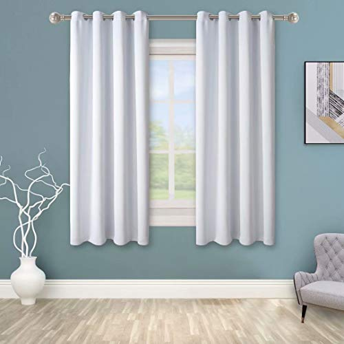 BONZER Grommet Blackout Curtains for Bedroom - Thermal Insulated, Energy Efficient, Noise Reducing and Light Blocking, Room Darkening Curtains for Living Room, White, 50 x 45 inch, Set of 2 Panels