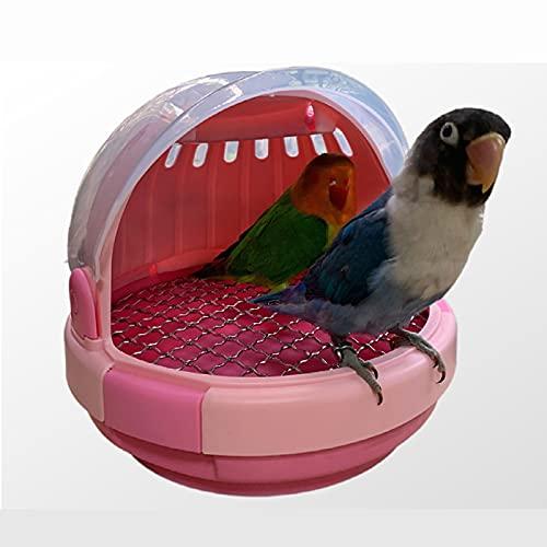 ZHANGJINYISHOP2016 Jaula Pájaro transportista transportador Transparente Loros Ligeros para Cockatiels Bolsa de Viaje de Animales pequeños para Hamster Squirrel Lovebirds Jaula para (Color : Pink)