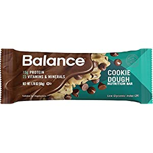 Balance Bar, Healthy Protein Snacks, Cookie Dough, With Vitamin A, Vitamin C, Vitamin D, and Zinc to Support Immune Health, 1.76 oz, Pack of Three 6-Count Boxes