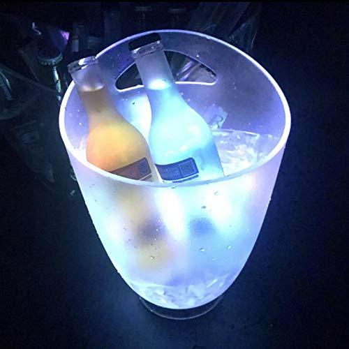 Ingjie - Secchiello per ghiaccio a LED, 4 l, RGB, per champagne, vino e bevande, con LED che cambiano colore, per KTV, feste, casa, ecc.