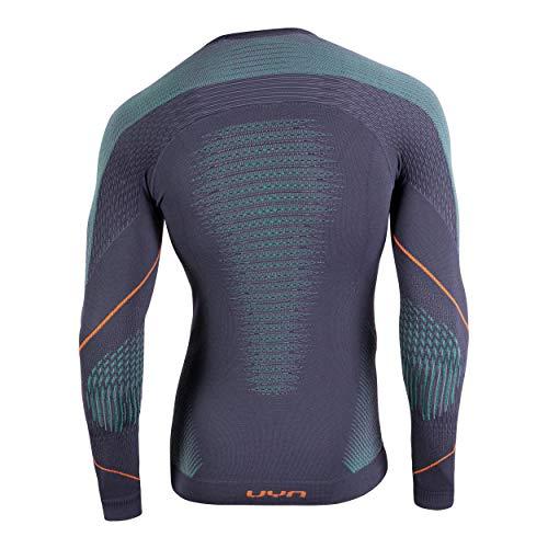 UYN Herren Evolutyon Langärmliges Unterhemd, Charcoal, Grün, Orange Shiny, L/XL - 2