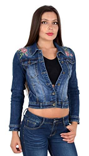 ESRA Damen Jeansjacke Damen Jeans Jacke mit Blumen Stickerei lang große Größen bis Übergröße M03