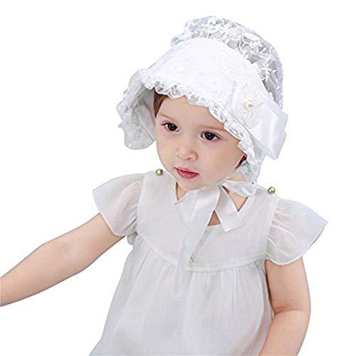 Qchomee Baby Mütze Neugeborene Kleinkinderhut Spitze Säuglinge Prinzessin Beanie Cap Sommer Anti-UV Sonnenhut Outdoor Sonnenmütze Hut mit verstellbarem Kinnriemen Mütze für Mädchen (3 Monate-3 Jahre)