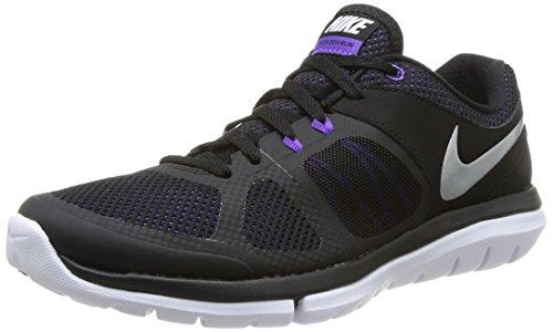 Nike 642767 006 Wmns Flex 2014 Rn Damen Laufschuhe, Mehrfarbig (Blk/Mtllc Slvr-Hypr Grp-White) 36.5