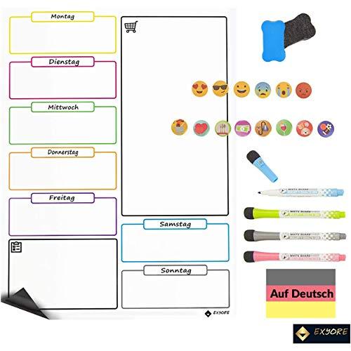 Magnetisches Whiteboard Kühlschrank, Kuchen Wochenplaner, Terminplaner, Memoboard, Pinnwand, ideal für Familie Aufgabenplaner, wöchentliche Menüs und Einkauflisten, Kinder Magnettafel, auf Deutsch