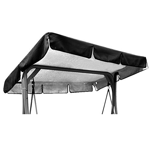 OUNUO Replacement Canopy for Swing Seat Chair, Universal Coloured Replacement Roof Cover Patio Hammock Cover Top Garden Outdoor (164 * 114 * 15cm, Black)