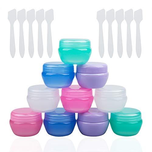 YuCool Kleine Kunststoff-Reisebehälter für Toilettenartikel,TSA genehmigt, leer, auslaufsicher, nachfüllbar,Mini-Make-up-Dosen, 20 ml pro Stück mit 10 Stück Mini-Spateln für Creme und Proben