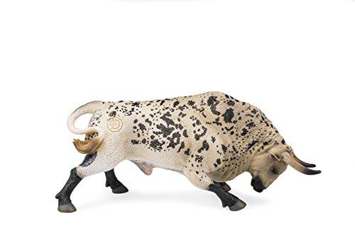 Deqube- Bravo Ensabanado Embistiendo Figura de toro, Color blanco, 17x8x4,2 (1)