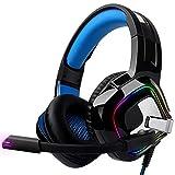 August EPG100L ヘッドホン ヘッドフォン PS4 ゲーミングヘッドセット マイク付き ノイズキャンセリング LEDライト クリスタル ステレオ サウンド 高音質 重低音強化 伸縮可能 軽量 スイッチ/PC/Xbox One/PS 4/タブレットに対応 ブルー