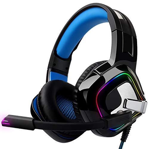 Gaming Kopfhörer für PC/PS4/Mac – August EPG100 – Stereo Gaming Headset mit RGB-LED Licht Rauschunterdrückung Mikrofon 50mm Treiber Flip-Stummschaltung 4D Surround Sound 3,5mm Kabel–für Xbox One