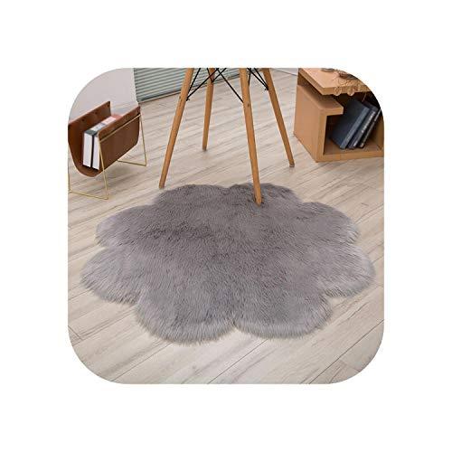 leaf-only Gelber Teppich, Blumenform Flauschige Teppiche Anti-Rutsch-Zottel Teppich Teppich Esszimmer Teppich Weiche Bodenmatte Home Schlafzimmer-Hellgrau-30cm
