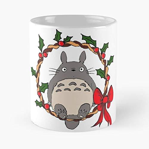 FashionNut Totoro Miyazaki Love Studio Ghibli My Neighbor Totoro Studio Ghibli Cartoon Japan Christmas Time La Mejor Taza de café de cerámica de mármol Blanco de 11 oz