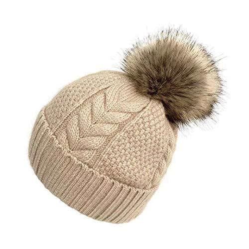 AOXUE Cachemire Berretto Inverno Cappello Maglia da Donna con Pompon (Cammello)