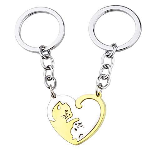 Viesky 2 Paar Herz-Schlüsselanhänger mit Ying-Yang-Katze aus Edelstahl, Silber, Gold, Puzzle-Teil.