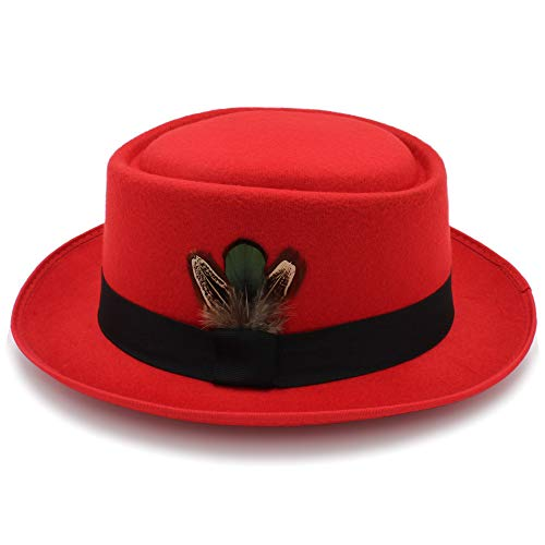 L.W.SURL Klassischer Wollfilz-schwarzer Schweinefleisch-Kuchen-Hut Porkpie Jazz-Fedora-Hut-runde Spitze (Farbe : Rot, Größe : 56-58CM)