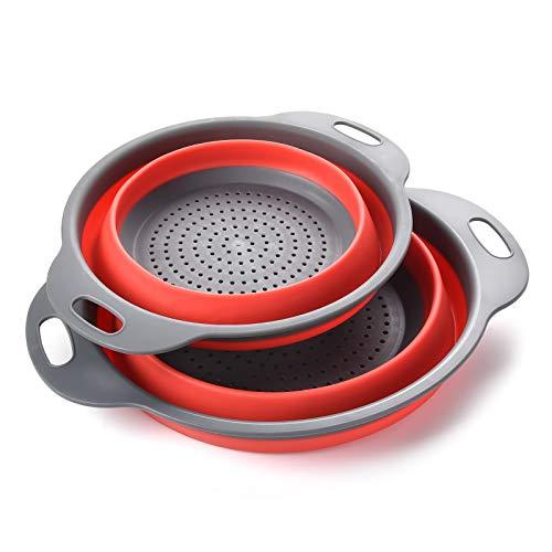 Coladores Cocina, Cocina Plegable Colador de Silicona, Respetuosos del Medio Ambiente no Tóxico Fácil de Limpiar, 2 Tamaños, Incluyendo 8 Pulgadas y 9,5 Pulgadas.