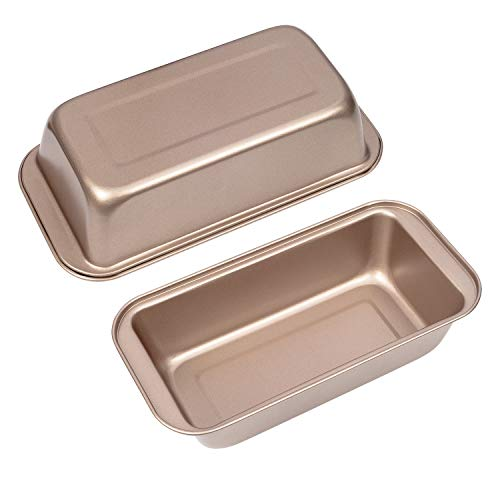 Nostick Loaf Bread Pan Set of 2, 8.5 x 4.5 inch Carbon Steel Bakeware Bread Toast Mold Baking Pan, Gold