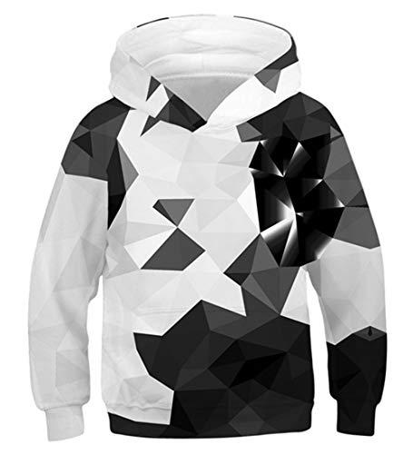 Idgreatim Jungen Mädchen Sweatshirt 3D Pullover Mit Kapuze Pullover Hoodies mit Tasche L