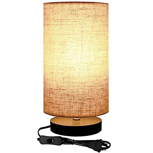 Lightess Lámpara de Mesa Luz Mesita de Noche Casquillo E27 Pantalla de Tela Con Interruptor Lámpara Escritorio Diseño Vintage para Dormitorio, Sala de Estudio (No Incluye Bombilla) (redondo)
