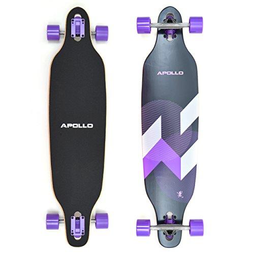 Apollo Longboard Makira Komplettboard mit High Speed ABEC Kugellagern, Drop Through Freeride Skaten Cruiser Board