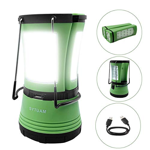 SYTUAM LED Camping Lantern with 2 Detachable Torches, USB Rechargeable and Battery Operated, 600 Lumen Tent Light, Outdoor Searchlight for Emergency, Hiking, Fishing, Power Cuts and More