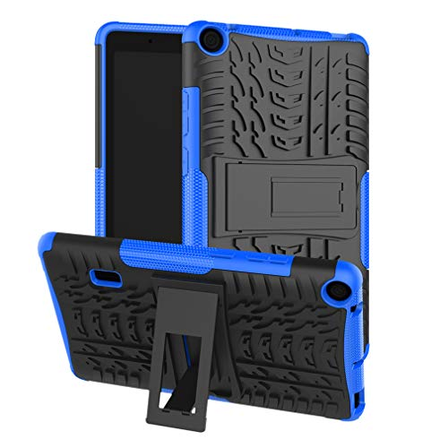 LMFULM Case for Huawei MediaPad T3 7 (7.0 Inch) PU 3 in 1 Hybrid Heavy Duty Shockproof Light Weight Anti Slip Soft Silicone Back Cover for Huawei T3 7 Blue