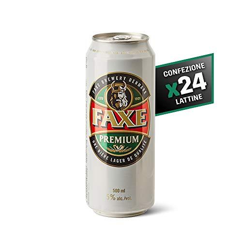 Faxe Lager - Birra Chiara - Lager Super Premium a Bassa Fermentazione - Cartone 24 Lattine da 50 cl