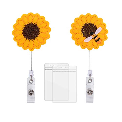 【2021 Upgraded】2 Sets Badge Holder Reel,HASFINE Badge Reel with Alligator Clip 24 inch Retractable Cord, Cute Sunflower Clip-On ID Card Holder Perfect Gift for Nurse Doctor Teacher Voluteer and Office