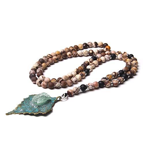 N/G Collar de Piedra de Cebra Natural para Hombre, Colgante de Hoja de Bronce de latón Antiguo a la Moda, Collar de abalorio de aventurina Verde