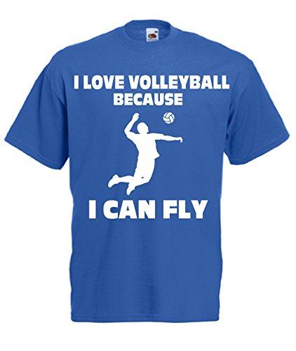 Fruit of the Loom T-Shirt PALLAVOLO - I Love Volley Uomo (Small, Blu Royal)