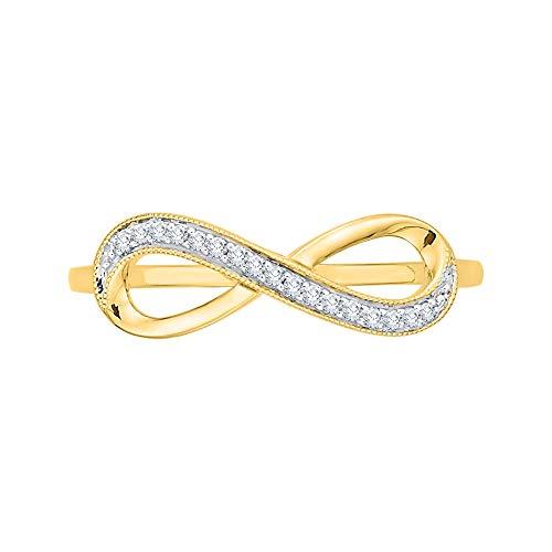 KATARINA Anillo infinito de diamantes en oro de 14 k (1/20 cttw, J-K, SI2-I1)