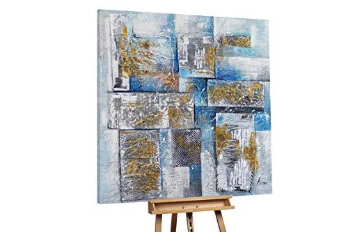 KunstLoft® XXL Gemälde 'Quadratit' 150x150cm | original handgemalte Bilder | Tupfer Abstrakt Grau Blau | Leinwand-Bild Ölgemälde einteilig groß | Modernes Kunst Ölbild