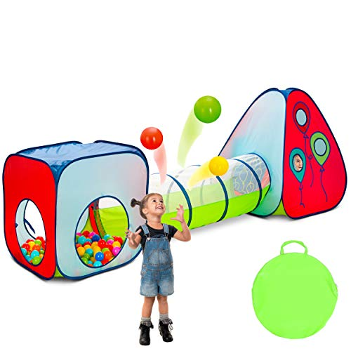Kiddey 3 in 1 Kids Pop Up Play Tent with Crawl Tunnel and Ball Pit Set – Durable Playhouse Tent for Boys, Girls, Babies, Toddlers & Pets – for Indoor & Outdoor Use, with Carrying Case