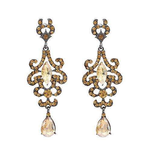 Nuevo estilo étnico europeo y americano Retro Palace Luxury Crystal Pendientes largos con borla Pendientes-Amarillo