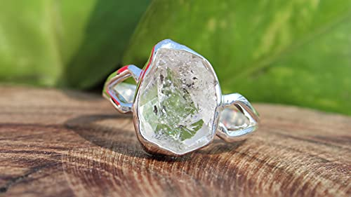 Raw Herkimer Diamond Ring   April Birthstone Handmade Silver Ring   Natural Herkimer Ring   Sterling Solid Silver 925   Handmade Jewelry