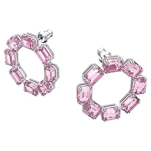 Swarovski Pendientes de Aro Millenia, Cristales Talla Octagonal, Rosa, Baño de Rodio