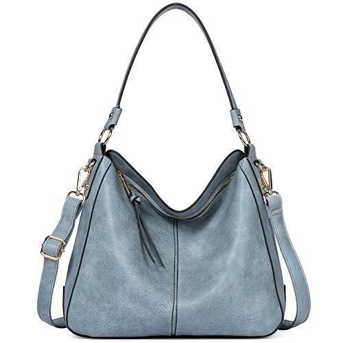 Purses and Handbags for Women Designer Leather Hobo Tote Fashion Ladies Crossbody Large Bucket Shoulder Bag Vintage Two Toned Light Blue
