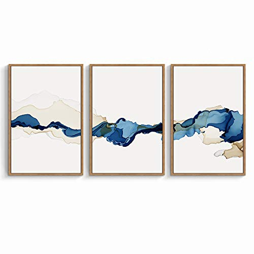 signwin 3 Piece Framed Canvas Wall Art Blue and White Watercolor Canvas Prints Home Artwork Decoration for Living Room,Bedroom - 16'x24'x3 Panels