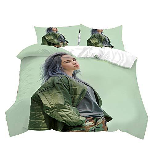 Meiju Bettwäsche-Set 3 TLG mit 1 Mikrofaser Bettbezug und 2 Kissenbezug - Bettbezug mit Reißverschluss Schließung - 3D Bedrucktes Bettwäsche Set (135x200cm,Billie Eilish 7)