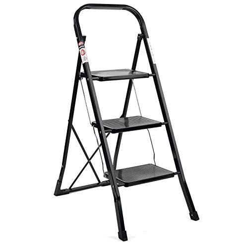 Delxo 3 Step Ladder Folding Step Stool Ladder with Handgrip Anti-Slip Sturdy and Wide Pedal Multi-Use for Household and Office Portable Step Stool Steel 330lbs Black (3 feet)