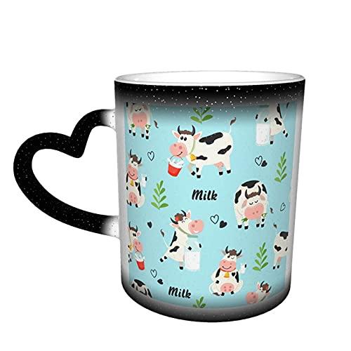 maichengxuan Novedad taza vacas y leche botella taza de café divertido cambio de color taza de viaje taza cerámica sensible al calor