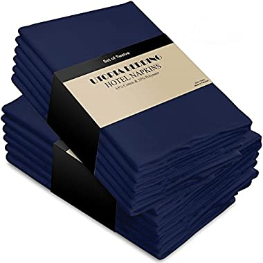 Utopia Bedding Cotton Dinner Napkins Navy-Blue - 12 Pack (18 inches x 18 inches) Soft and Comfortable - Durable Hotel Quality - Ideal for Events and Regular Home Use