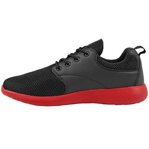 Urban Classics Urban Classics Damen und Herren Light Runner Shoe, Low-Top Sneaker für Damen und Herren, Sportschuhe mit Schnürung, Schwarz/Fire Red, Größe 36
