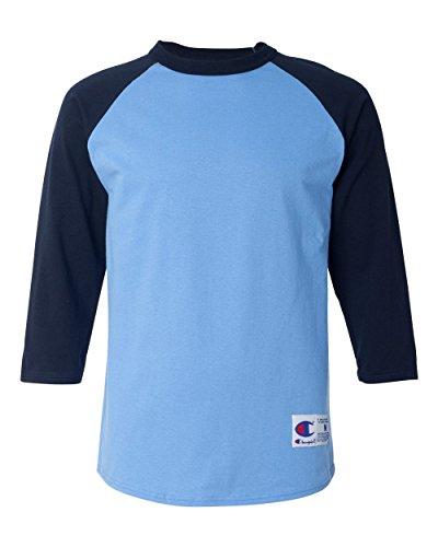 Champion Men's Raglan Baseball T-Shirt, Light Blue/Navy, X-Large