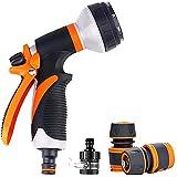 Gartenschlauch Spritzpistolen Set, 8-Muster-Hochdruckdüsen mit Schnellkupplungsadaptern und Wasserhahnanschlüssen Anzug für Autowaschanlage, Tierdusche