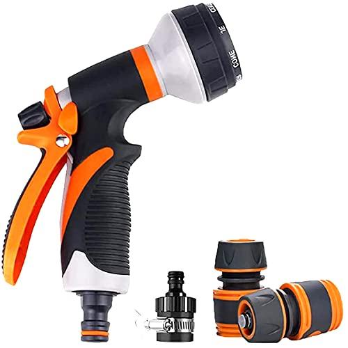 Juego de pistolas pulverizadoras de jardín, 8 patrones de boquillas de alta presión con adaptadores de acoplamiento rápido y conectores de grifo, traje para lavado de coches, ducha de animales