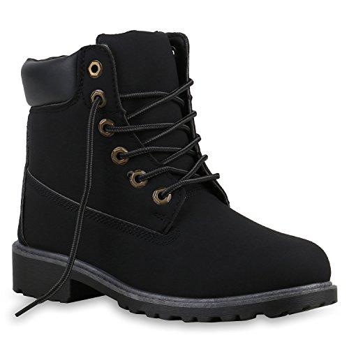 stiefelparadies Damen Schuhe 126170 Stiefeletten SCHWARZ 37 Flandell