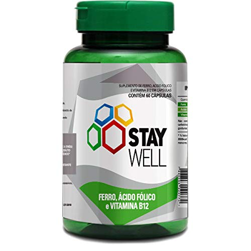 Ferro, ácido fólico e vitamina B12 60 cápsulas de 250 mg – Stay Well
